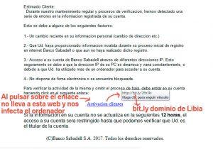 VIRUS muy peligroso - Banco Sabadell