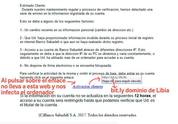 VIRUS muy peligroso – Banco Sabadell