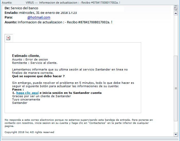 VIRUS muy peligroso – Banco Santander – Información de actualización