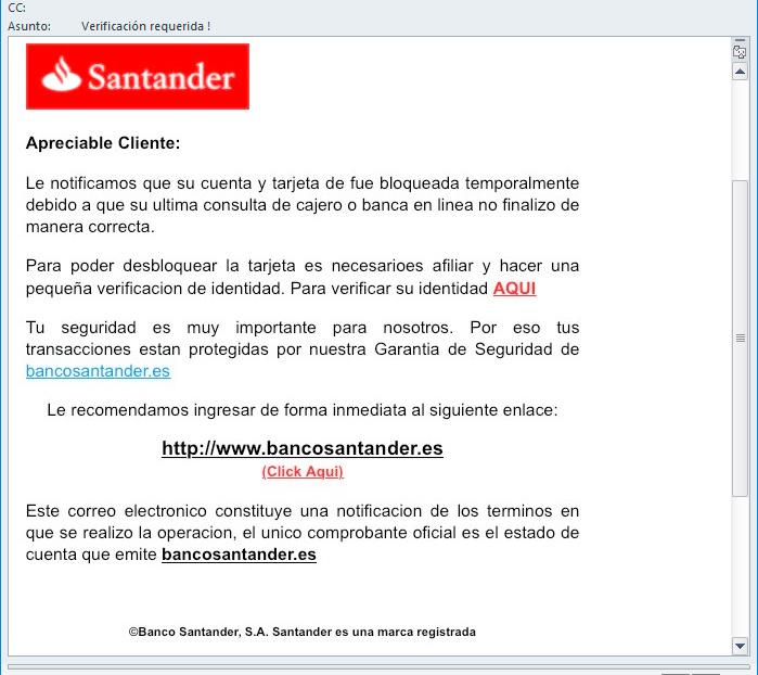 VIRUS muy peligroso – Banco Santander – Verificación requerida !