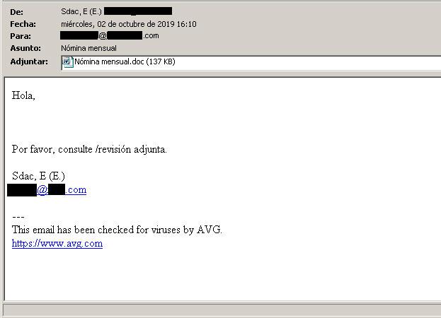 Envio masivo de virus en ficheros adjuntos de Word .doc